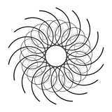 Geometric radial element. Abstract concentric, radial geometric motif - 195420897