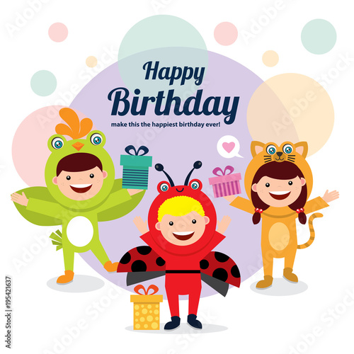 Birthday Card Template With Kids In Animal Costume