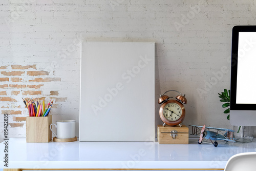 Mock up photo frame with supplies.