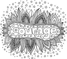 Coloring page for adults with mandala and courage word. Doodle lettering ink outline artwork. Vector illustration