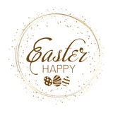 Happy Easter Greeting card with golden sparkles. Vector.