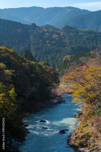 Fotobehang Blauwe jeans landscape of mountain in autumn