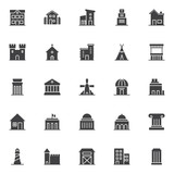 Landmarks and building vector icons set, modern solid symbol collection, filled style pictogram pack. Signs, logo illustration. Set includes icons as school, countryside house, two storey house garage - 195430881