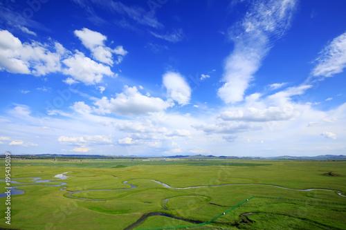 Aluminium Donkerblauw The river on the grassland