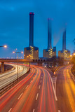 Cogeneration plant and highway at night seen in Berlin, Germany