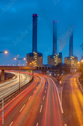 Wall mural Cogeneration plant and highway at night seen in Berlin, Germany