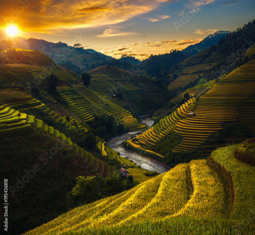 Deurstickers Rijstvelden Rice field and rice terrace in Mu cang chai