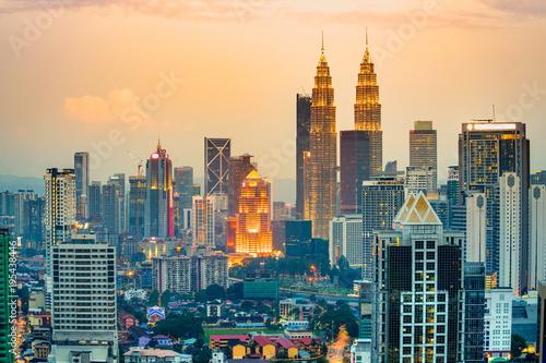 Kuala Lumpur, Malaysia. Sunset skyline