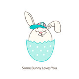 Christian spring holidays greeting card with hand drawn Easter bunny and eggs