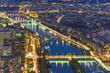 Seine river in Paris. Night scene from Eiffel Tower