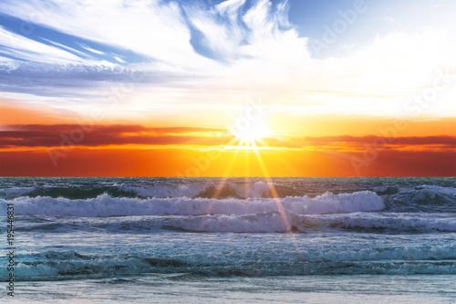 Staande foto Zee zonsondergang Sonnenuntergang am Meer