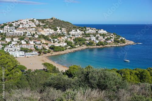 Fotobehang Khaki Spain Costa Brava, Cala Montgo bay in l'Escala town, Catalonia, Alt Emporda, Girona, Mediterranean sea