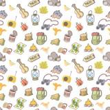 Seamless  Pattern  Picnic Items Wall Sticker
