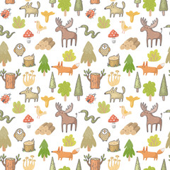 seamless vector pattern with forest animals © An_Kle