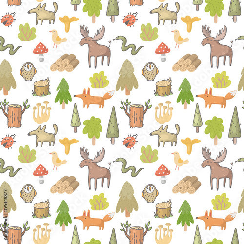 Wall mural seamless vector pattern with forest animals