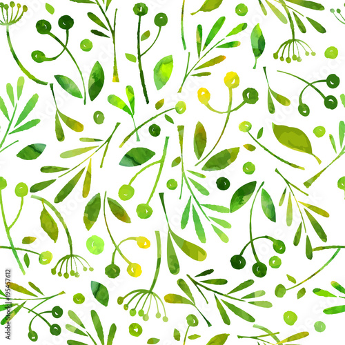 Seamless pattern watercolor green herbals. © Nataly