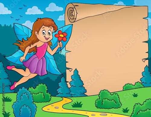 Foto op Canvas Voor kinderen Fairy and parchment theme 1