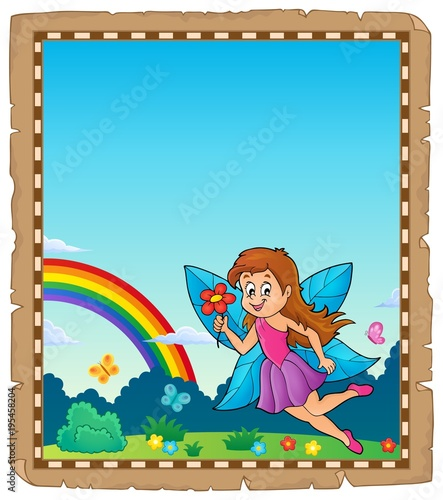 Fotobehang Voor kinderen Parchment with happy fairy theme 1