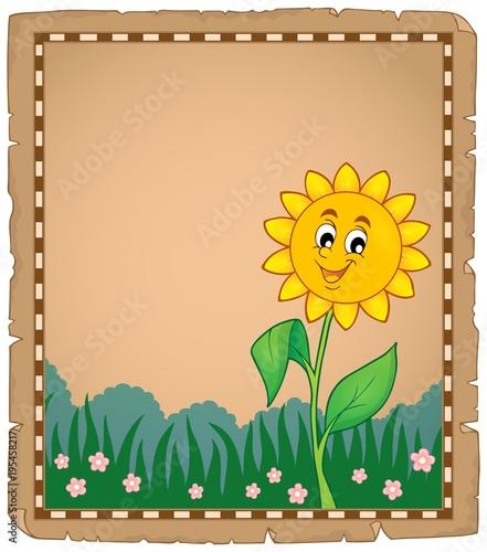 Foto op Canvas Voor kinderen Parchment with happy flower 1