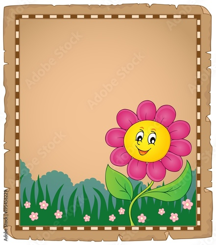 Fotobehang Voor kinderen Parchment with happy flower 2