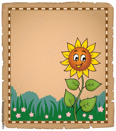 Fotobehang Voor kinderen Parchment with happy sunflower