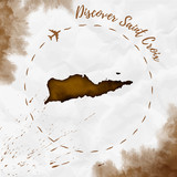 Saint Croix watercolor island map in sepia colors. Discover Saint Croix poster with airplane trace and handpainted watercolor Saint Croix map on crumpled paper. Vector illustration. - 195462207