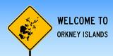 Orkney Islands map on road sign. Wide poster with Orkney Islands island map on yellow rhomb road sign. Vector illustration. - 195465806