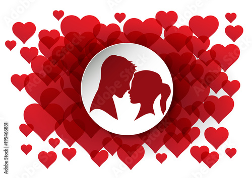 Vector illustration lovers. Silhouette of man and woman with heart. Background © puckillustrations