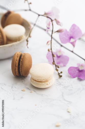 Fotobehang Macarons Macarons Chocolat et Vanille