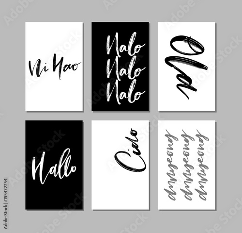 A set of words hello in different language greetings stationery a set of words hello in different language greetings stationery branding design vector m4hsunfo
