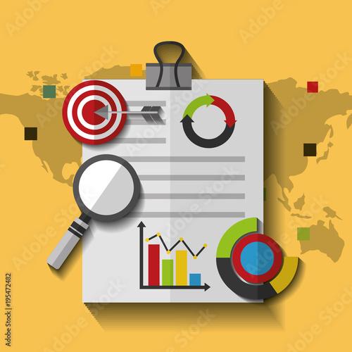 world map document business marketing target statistics data vector illustration