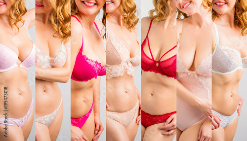Woman wearing different sets of underwear, collage of photos