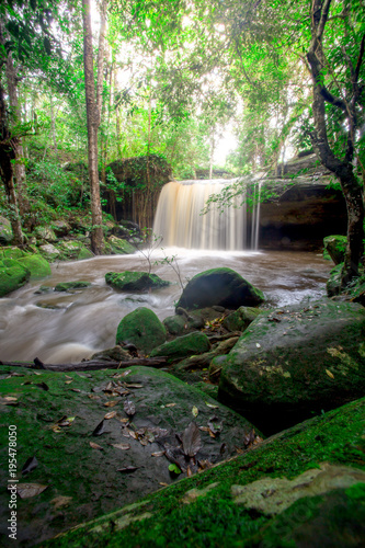Foto op Canvas Olijf Landscape photo,Waterfall in Phu kradueng national park, beautiful waterfall in Thailand