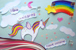 paper application with a picture of a unicorn and a rainbow.I love unicorns