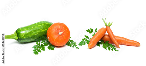 carrot, pumpkin and zucchini on a white background