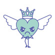 cartoon heart in love angry kawaii wings and crown vector illustration green design