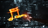 Music concept presented by fire burning icon