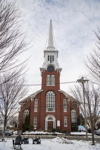 Foto op Canvas Diepbruine Beautiful Church at Newburyport MA