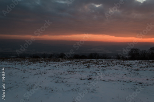 Aluminium Strand winter beauty sunset over hills