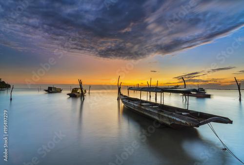 Aluminium Zee zonsondergang Traditional Beach in sunrise Batam Island