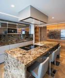 Modern marble kitchen with island - 195499679