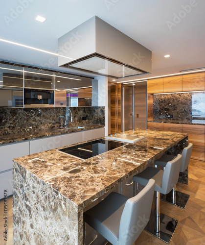 Wall mural Modern marble kitchen with island