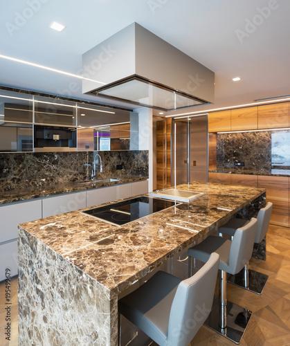 Sticker Modern marble kitchen with island