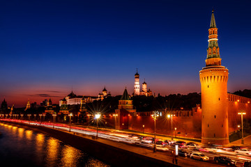 The Moscow Kremlin after sunset