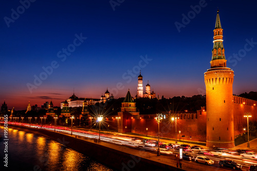 Aluminium Moskou The Moscow Kremlin after sunset