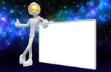 The Original 3D Character Illustration Astronaut With A Blank Sign - 195504235