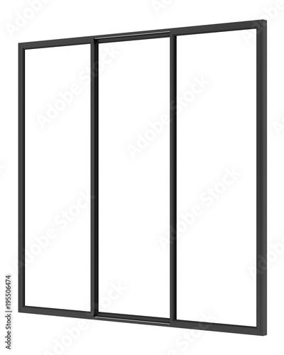 black metallic window isolated on white background - 195506474