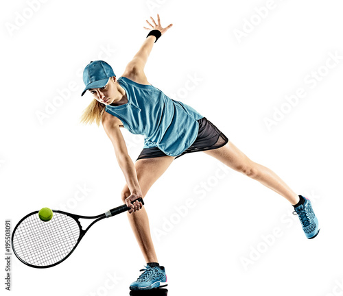 Aluminium Tennis one young caucasian tennis woman isolated in silhouette on white background