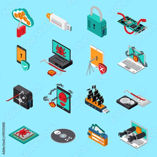 Hardware Protection Icons Set
