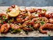 Large grilled BBQ shrimp with sweet chili sauce, green onion and lemon. - 195521016